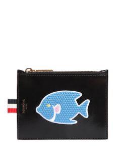 Thom Browne | Кожаный Кошелёк Для Монет С Нашивкой Рыба
