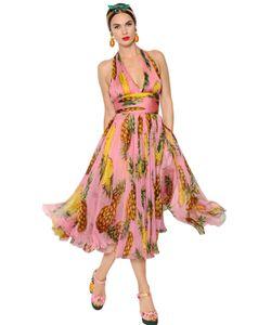 Dolce & Gabbana | Платье Из Шёлкового Шифона С Принтом Ананас