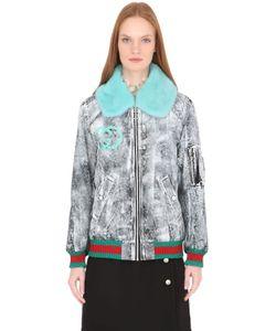Gucci   Куртка-Бомбер Из Габардина С Мехом Норки