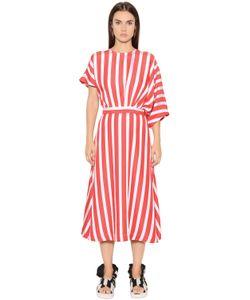MSGM | Платье Из Вискозного Крепа В Полоску