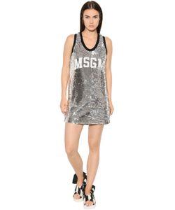 MSGM | Платье Из Тюля С Пайетками И Логотипом