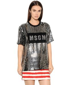 MSGM | Футболка Из Тюля С Пайетками И Логотипом