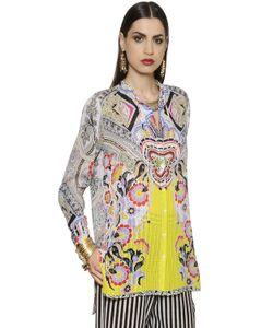 Etro   Рубашка Из Шёлковой Вуали С 3d Принтом