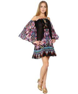 Roberto Cavalli | Платье Из Кружева И Шёлкового Жоржета С Принтом