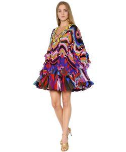 Roberto Cavalli | Платье Из Шёлкового Жоржета С Вышивкой И Принтом
