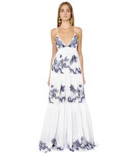 Roberto Cavalli | Платье Из Хлопковой Вуали С Вышивкой