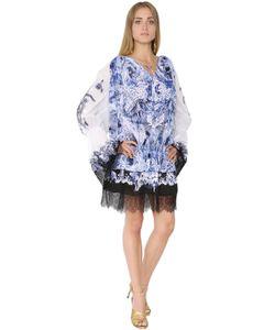 Roberto Cavalli | Платье Из Хлопкового Маркизета С Вышивкой