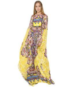 Roberto Cavalli | Платье-Кафтан Из Шёлкового Шифона С Принтом