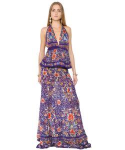 Roberto Cavalli | Платье Из Шёлкового Жоржета С Цветочным Принтом