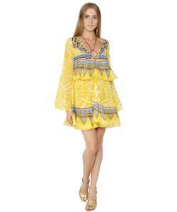 Roberto Cavalli | Платье Из Шёлкового Жоржета С Оборками