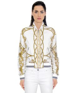 Versace | Куртка-Бомбер Из Шёлковой Саржи С Принтом Iconic