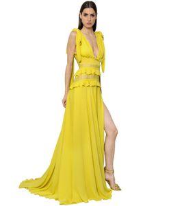 Elie Saab | Платье Из Креп-Жоржета И Кружева