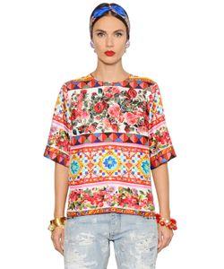 Dolce & Gabbana | Топ Из Шёлковой Саржи С Цветочным Принтом
