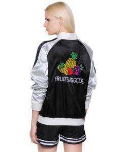 Gcds | Куртка-Бомбер Из Атласа С Вышивкой Фрукты
