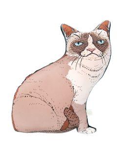 SILKEN FAVOURS | Подушка Grumpy Kitty Из Хлопка И Шёлка