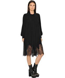 Mcq Alexander Mcqueen | Платье Из Шёлкового Шифона И Кружева