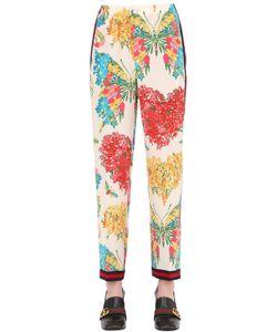 Gucci | Брюки Из Шёлкового Креп-Кади С Цветочным Принтом