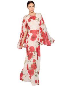 Giambattista Valli | Платье Из Шёлкового Жоржета С Принтом Розы