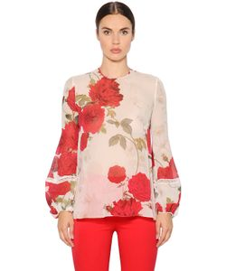 Giambattista Valli | Рубашка Из Шёлкового Жоржета С Принтом Розы