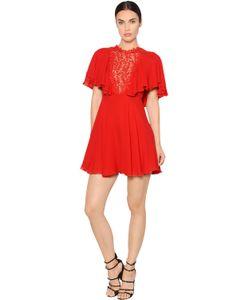 Giambattista Valli | Платье Из Шёлкового Жоржета И Макраме С Оборками
