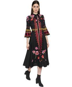 Temperley London | Хлопковое Платье С Цветочной Вышивкой