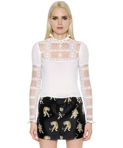 GIAMBA | Блуза Из Крепа И Кружева