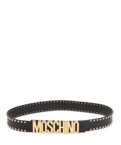 Moschino   Кожаный Ремень С Логотипом И Заклёпками 35Мм