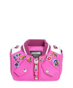 Moschino | Кожаная Сумка Bomber С Цветочной Вышивкой