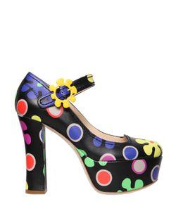 Moschino | Кожаные Туфли С Цветочным Принтом 120mm