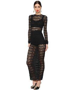 Dolce & Gabbana | Платье See-Through Из Стретч Кружева В Полоску