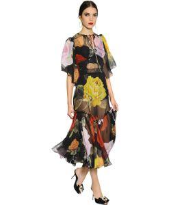 Dolce & Gabbana | Платье Из Шифона С Принтом Розы