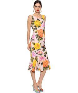 Dolce & Gabbana   Платье Из Кади С Принтом Розы