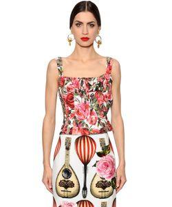 Dolce & Gabbana | Топ-Корсет Из Поплин С Принтом Розы