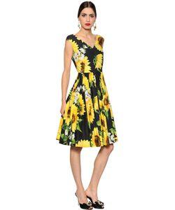 Dolce & Gabbana | Платье Из Поплин С Принтом Подсолнух