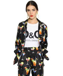 Dolce & Gabbana | Рубашка Из Шёлковой Саржи С Принтом Коктейль