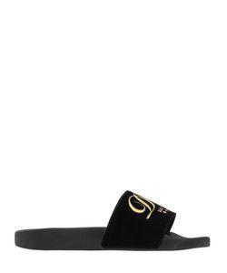 Dolce & Gabbana | Сланцы Из Бархата С Вышитым Логотипом 20mm