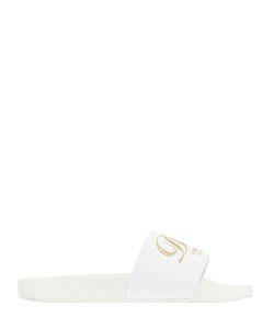 Dolce & Gabbana | Кожаные Сланцы С Вышитым Логотипом 20mm