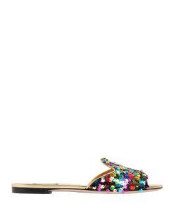 Dolce & Gabbana | Кожаные Сандалии Bianca С Пайетками 10mm
