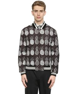 Dolce & Gabbana | Куртка-Бомбер Из Нейлона С Принтом Ананас