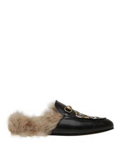 Gucci | Кожаные Туфли-Мюли С Нашивкой Тигр