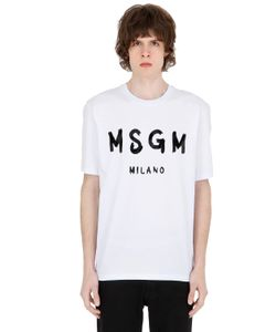 MSGM | Футболка Из Хлопкового Джерси С Принтом Логотипа
