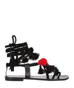 GIA COUTURE   Кожаные Сандалии С Помпонами И Кисточками 10mm