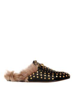 Gucci | Туфли-Мюли Princetown Из Кожи И Меха 10mm