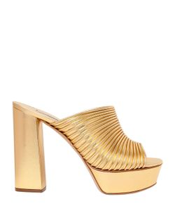 Casadei | Кожаные Туфли-Мюли С Эффектом Металлик 120mm