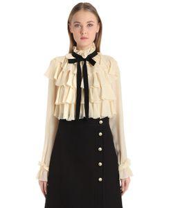 Gucci   Рубашка Из Шёлкового Жоржета С Оборками И Бантом