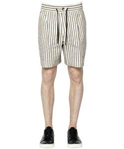 BERNARDO GIUSTI | Pinstriped Cotton Blend Canvas Shorts