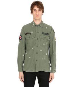 As65   Рубашка Из Хлопкового Габардина В Стиле Милитари