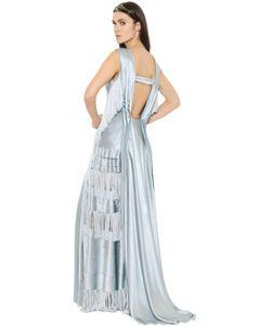 Alberta Ferretti | Платье Из Шёлкового Атласа С Бахромой