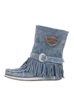 El Vaquero | 70mm Lena Fringed Suede Wedged Boots