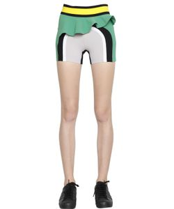 No Ka 'Oi | Ruffled Paneled Microfiber Shorts